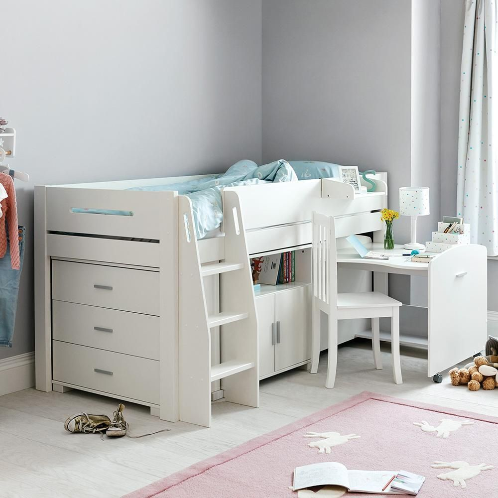 Tate Mid Sleeper Bed Set Ivory In 2020 Mid Sleeper Bed Bedding