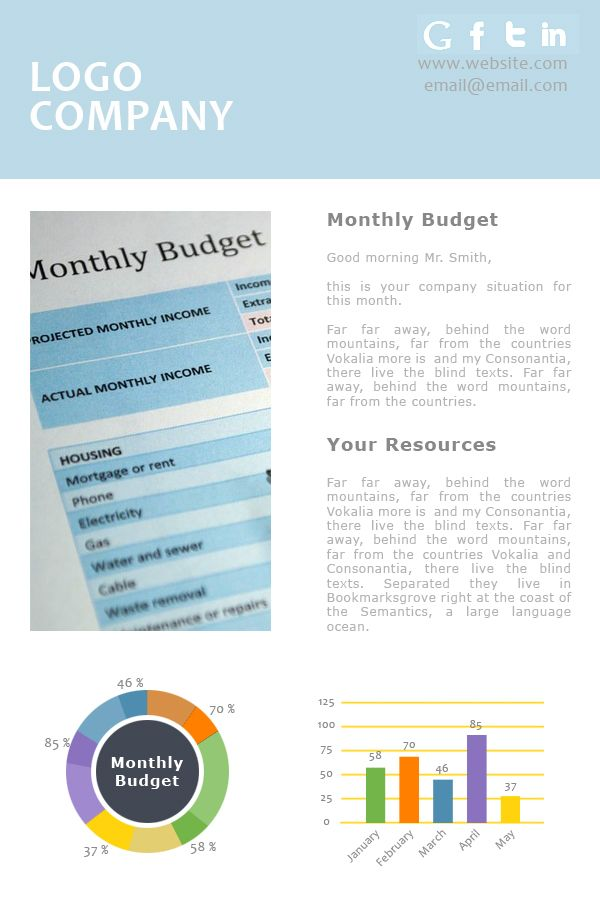The Monthly Budget Report Emailtemplate For Accounting And