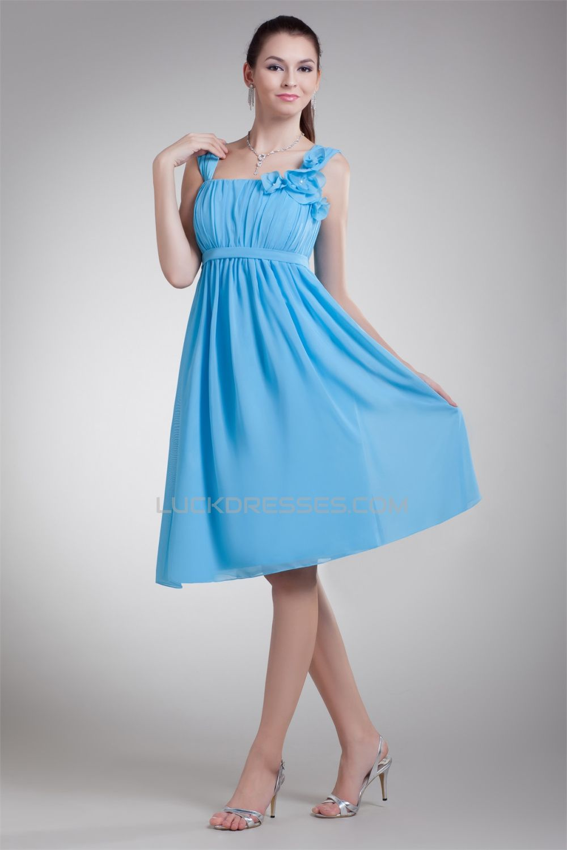 A Line Straps Chiffon Short Blue Bridesmaid Dresses Maternity 02010458