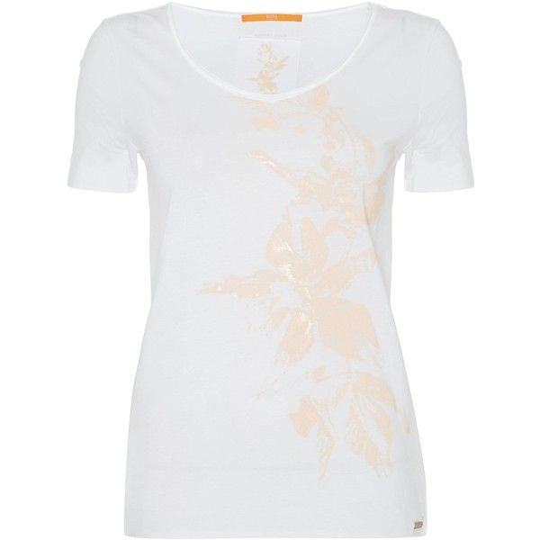 7744b7204bc9 Hugo Boss Vashirt short sleeve floral pattern tee (52 NZD) ❤ liked on  Polyvore featuring tops