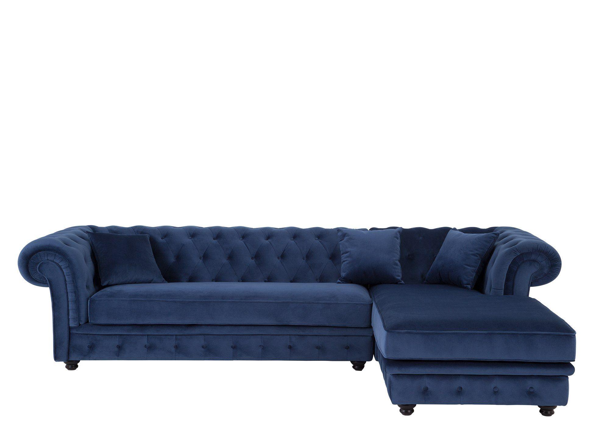 Branagh Right Hand Facing Chaise End Corner Sofa Electric Blue Velvet Corner Sofa Chesterfield Corner Sofa Sofa