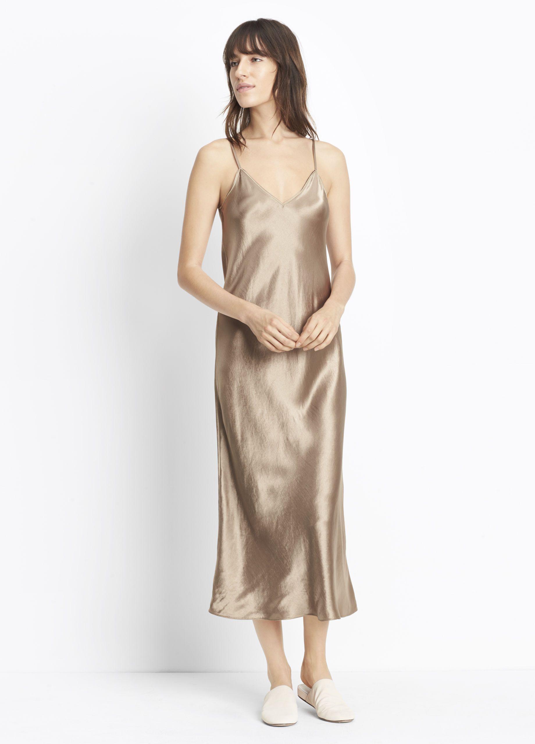 Satin V-Neck Slip Dress for Women | Vince | rose / gold / blush ...