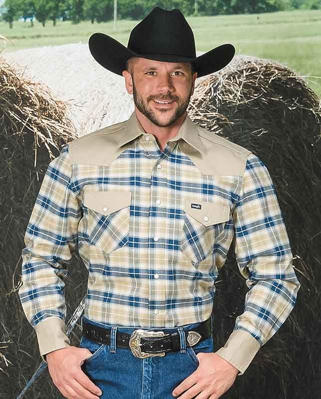 7f14f18a5b Wrangler Cowboy Cut Tan and Blue Plaid Western Work Shirt - Workwear Shirts  - Men s