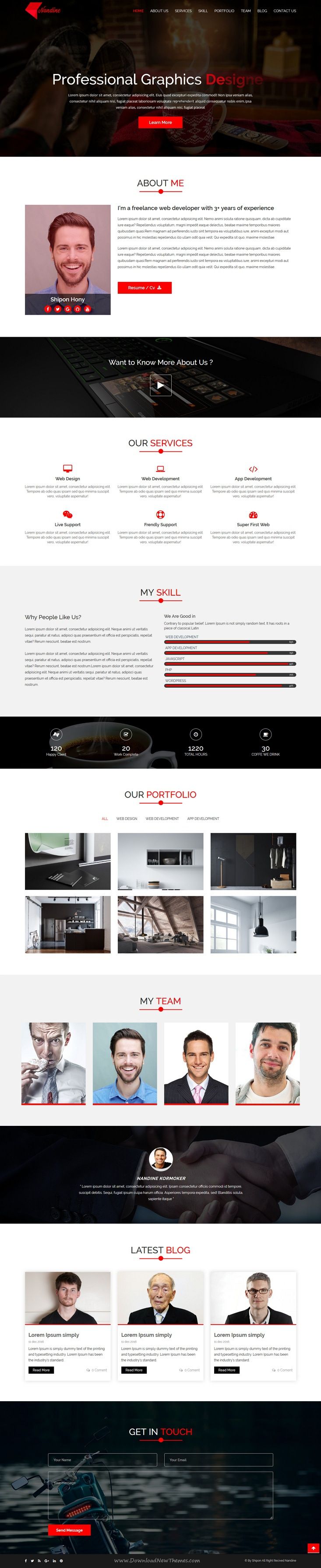 nandine responsive portfolio html template template for cv nandine is a clean and professional design html bootstrap template for cv