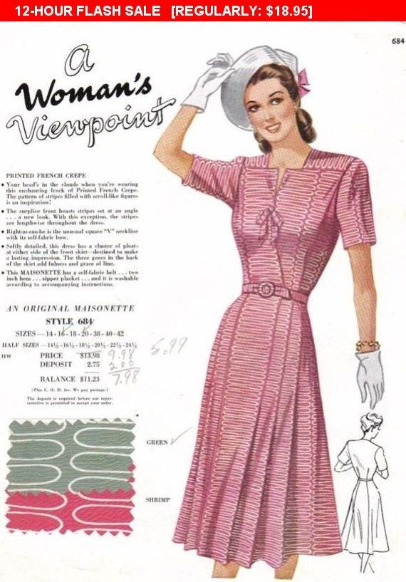 Vintage Maisonette Fabric Swatch In Pink And Green 1940s Advert For Fashion Fabrics 1940 S Fabri Vintage Fashion 1940s Fashion Fashion Fabric