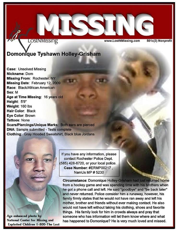 Domoninque Tyshawn Holley-Grisham Missing Feb 12th,2009 from Rochester, New York