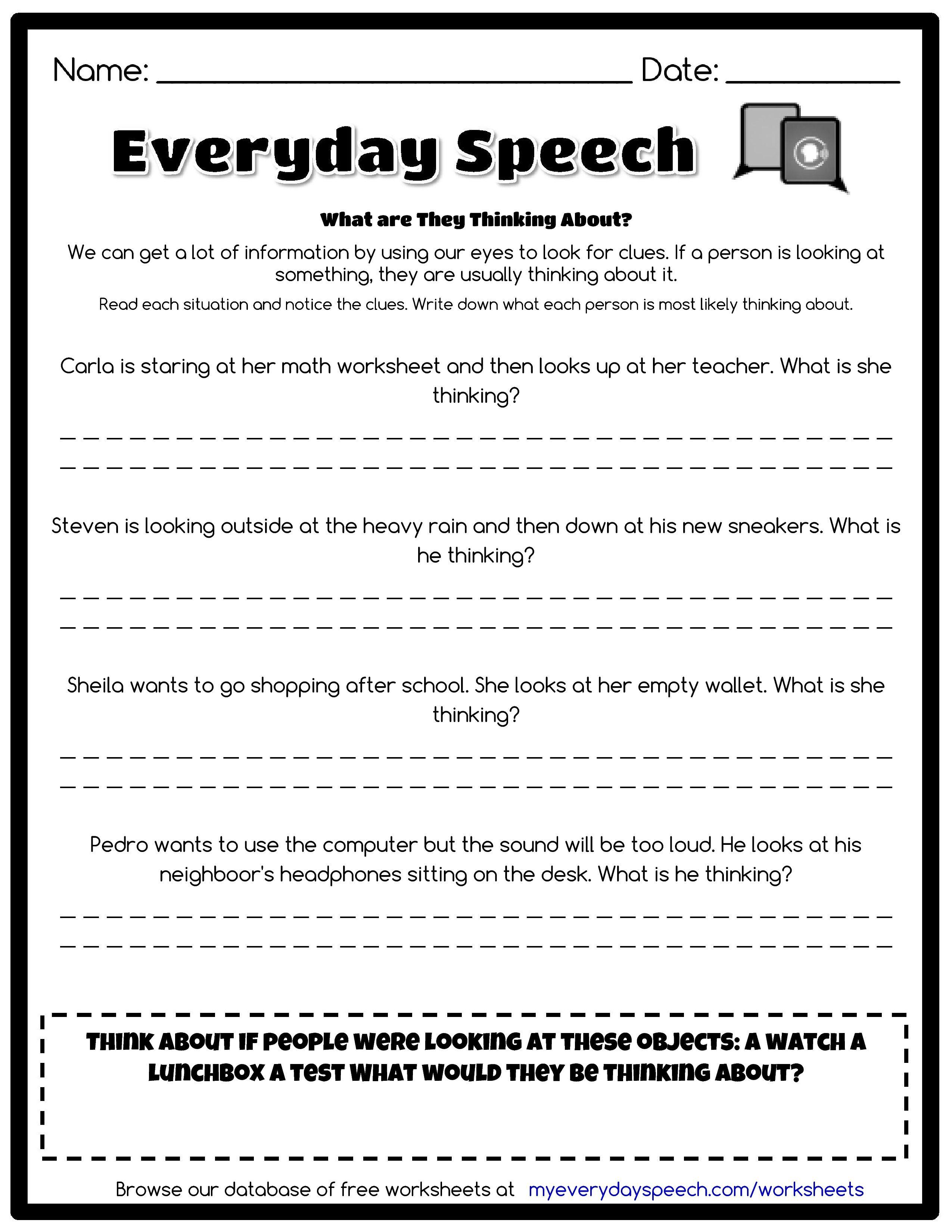 Everyday Speech Worksheet Creator Speech Therapy Worksheets Social Skills Speech