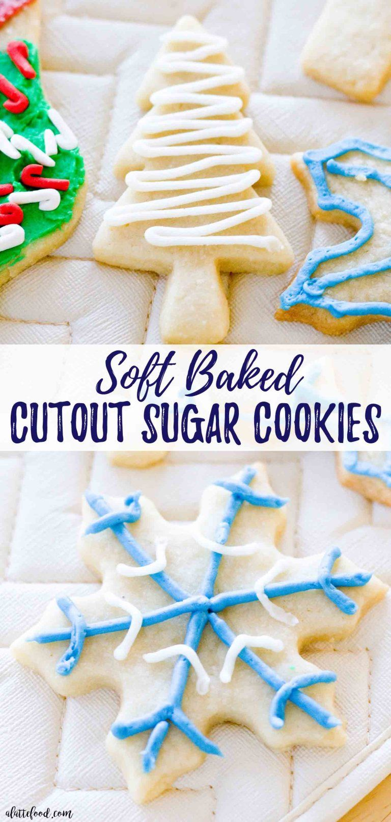 Soft-Baked Cutout Sugar Cookies: These soft rollout sugar cookies have Christmas and New Years written all over them! It's the perfect Christmas cookie recipe, if you ask me. These Cutout Sugar Cookies are made with homemade frosting and are such a simple classic christmas cookie recipe. #dessert #christmas #cookies #recipe #sugarcookies