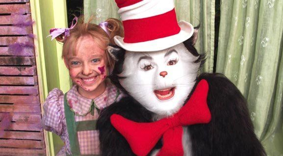 ba811644 The Cat (Mike Myers) and Sally (Dakota Fanning) on the set of