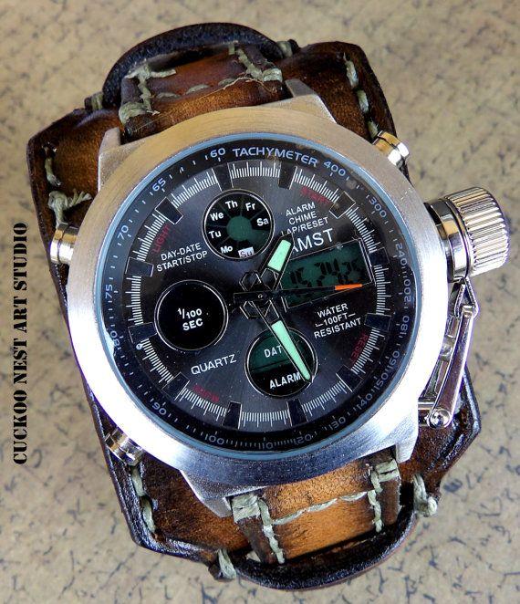 Leather Cuff Wrist Watch Vintage Brown by CuckooNestArtStudio