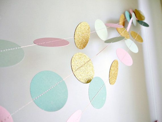 Hey, I found this really awesome Etsy listing at https://www.etsy.com/listing/197251105/mint-pink-gold-glitter-garland-mint