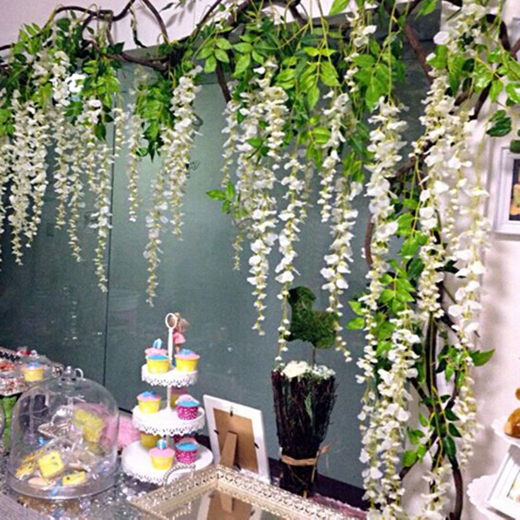 1 0 Aud Party Wisteria Bouquet Artificial Vine Hanging Silk