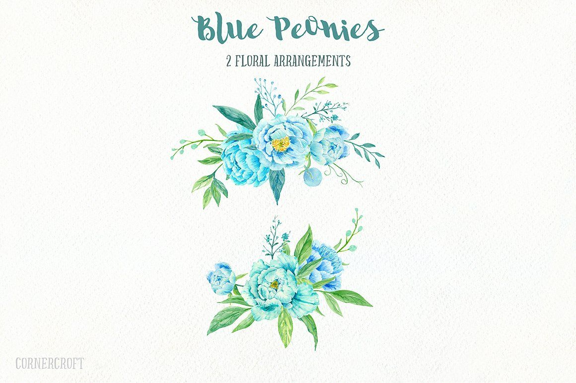 Blue Peony Clip Art Watercolour #arrangements#instant#download#decorative #bluepeonies