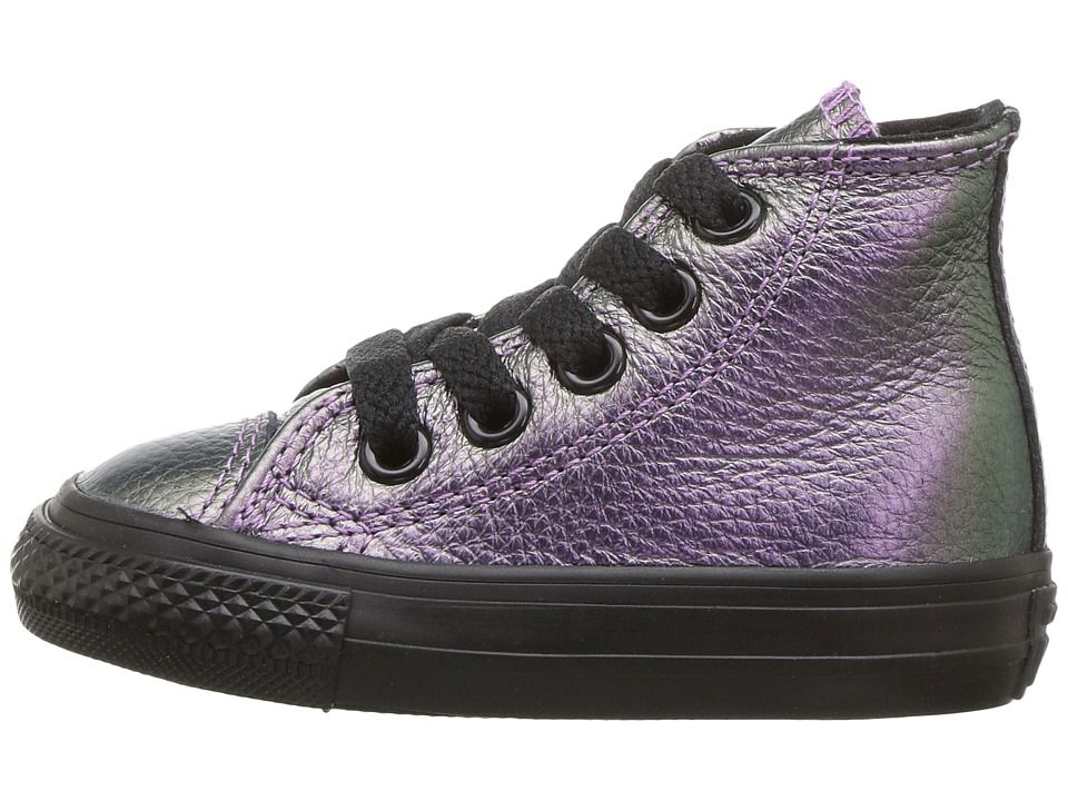 6957b84b026d Converse Kids Chuck Taylor All Star Iridescent Leather - Hi  (Infant Toddler) Girl s Shoes Violet Black Black