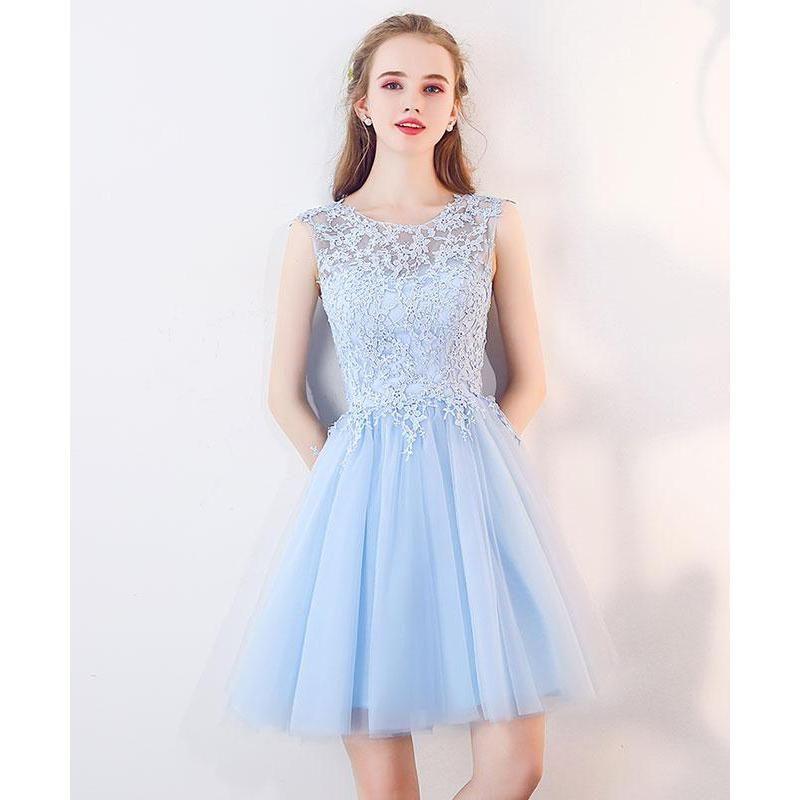Light Blue Short Prom Dresses Lace