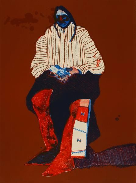 Fritz Scholder, Indian with Beaded Sash
