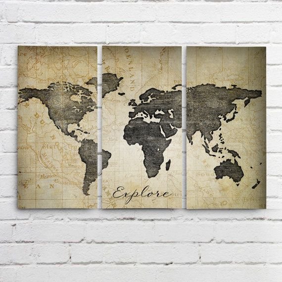 explore world map wall art triptych 3 canvases by allymacdesign