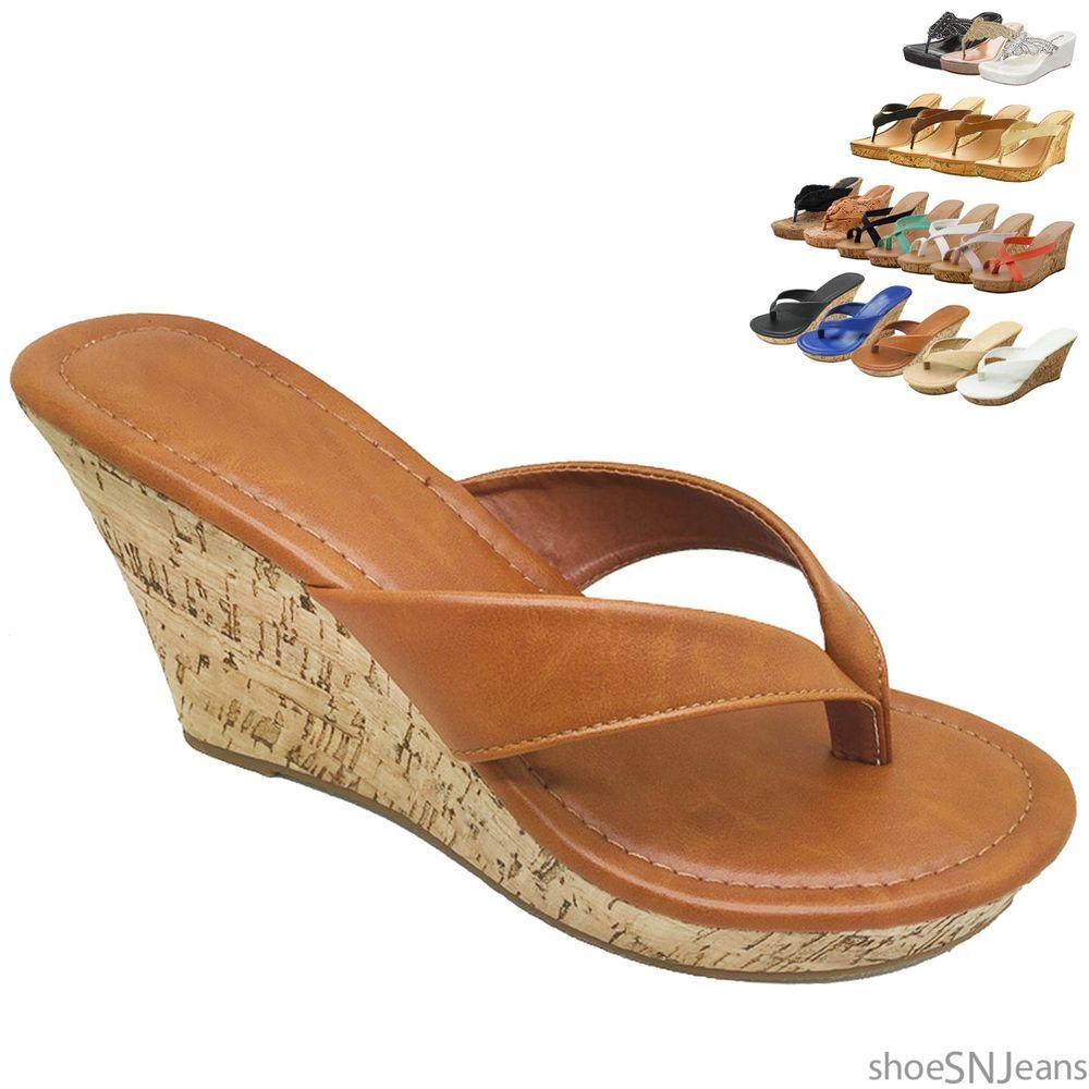 574664596c2 New Women Flip Flops Platform Thong Sandals Fashion Colors Wedge Heel Shoes   Branded  WedgePlatformSandals  BeachCasual