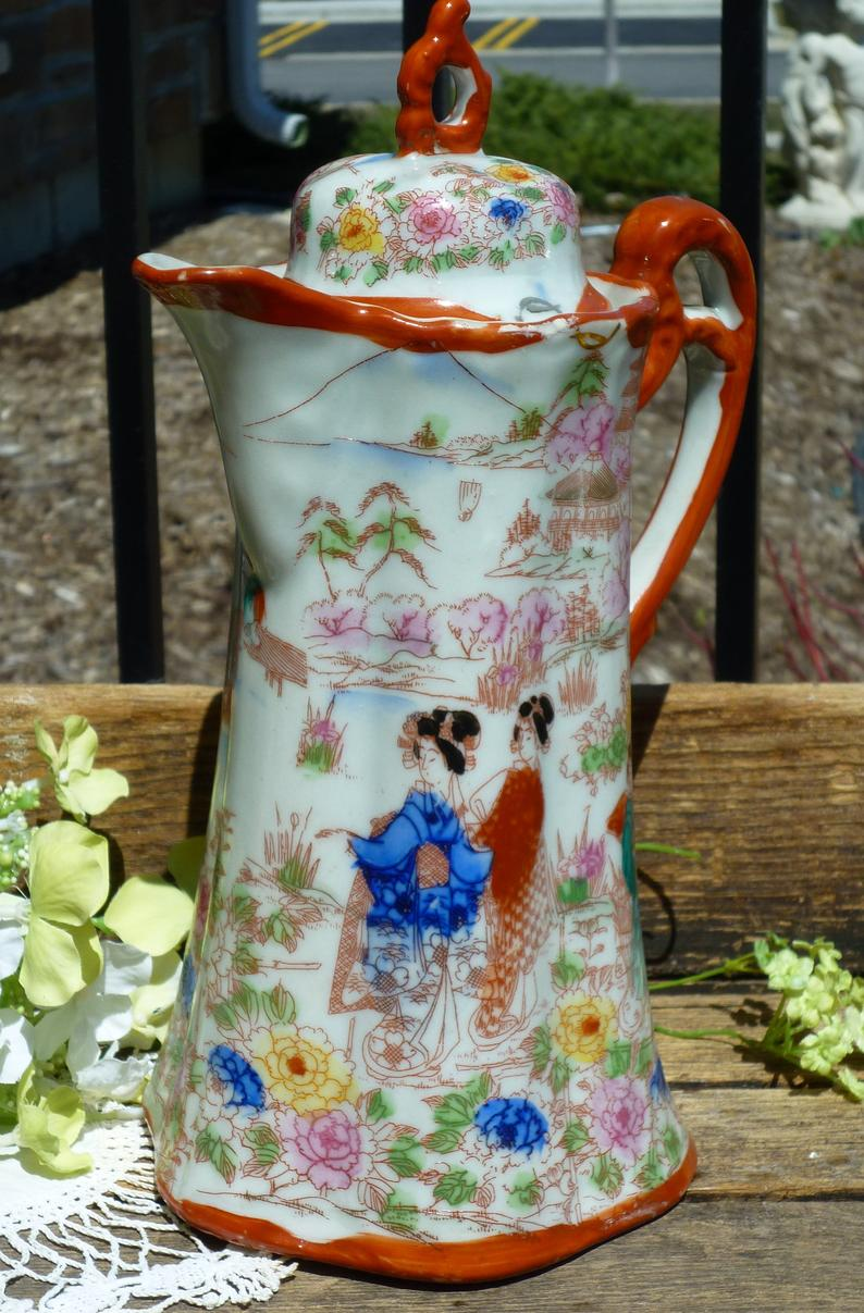 Vintage Japanese Porcelain Chocolate Pot #coffeepots