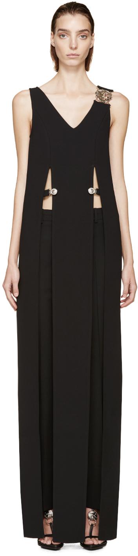 Black Crepe Anthony Vaccarello Edition Slit Dress