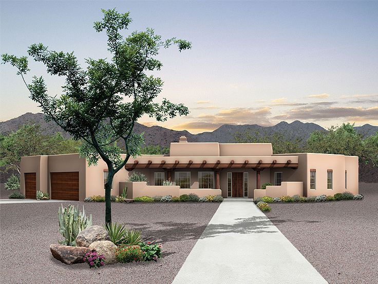 057h 0027 Three Bedroom Adobe Home Plan Features Patio Retreat Mediterranean Style House Plans Southwest House Adobe House