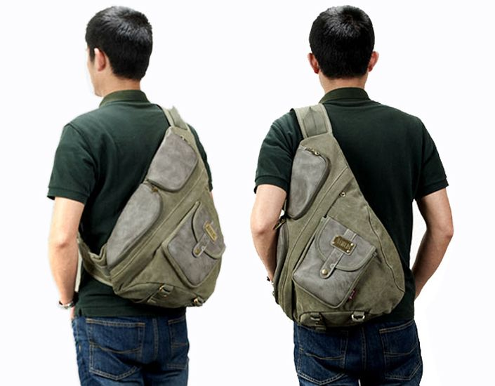 Tactical canvas and leather messenger bag for men Vintage men's ...
