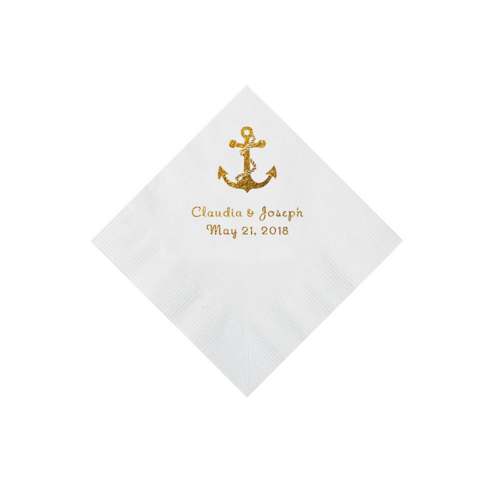 Wedding decorations gold and pink december 2018 White Anchor Personalized Napkins with Gold Foil  Beverage