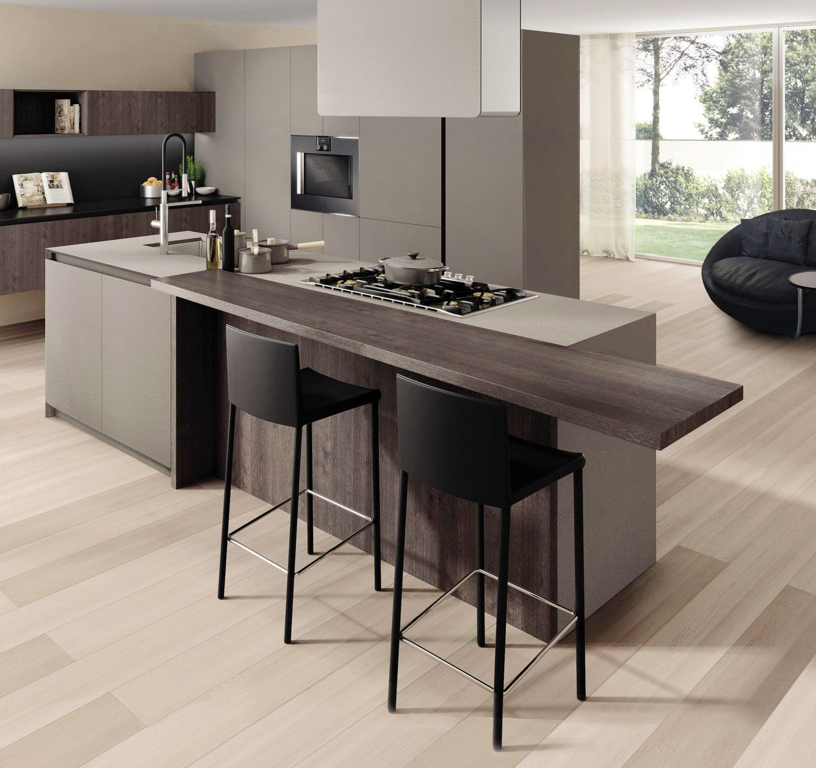 Pin On A Modular Kitchen: Harmonious And Stylish Combination Of Brown And Grey Makes Modular Kitchen Soothing, In This