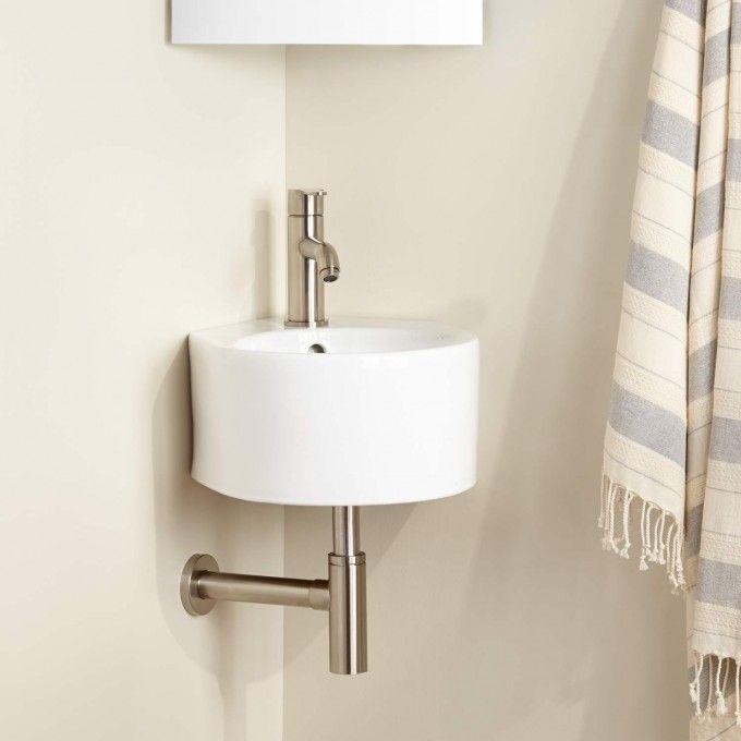 Minimalist Porcelain Wall Mount Corner Sink Small Vanity Sink