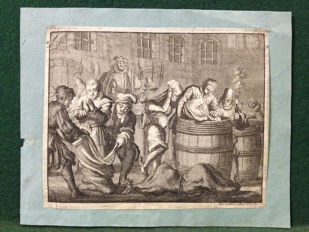 1685 Jan Luyken Antique Copper Engraving Martyrs Mirror 3 Anabaptists Drowning