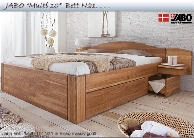 Jabo Bett Multi 10 N21 Mit Schubladen In Eiche Massiv Gewachst Und Geolt Bett Holzbetten Danisches Bett