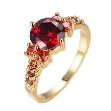 5.80/ct Red Ruby Garnet Wedding Ring 10KT Yellow Gold Filled Engagement Size6-10