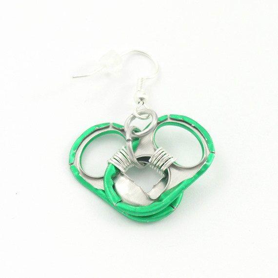 dark green pop tab heart earrings wire wrapped by tabsolute