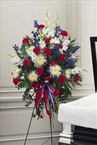 Red White And Blue Floral Wreaths Red White Blue Easel Spray Funeral Flowers Sympathy Flow Funeral Floral Arrangements Funeral Floral Flower Arrangements