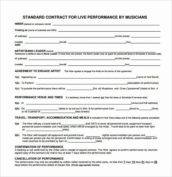 Music Performance Contract Template In 2020 Contract Template