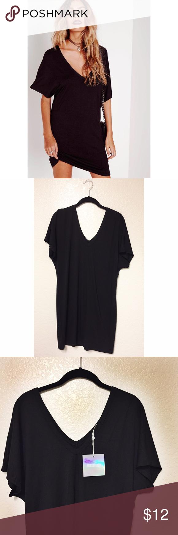 6490d9b25c Missguided Wide V Neck T-Shirt Dress (Black) Comfortable