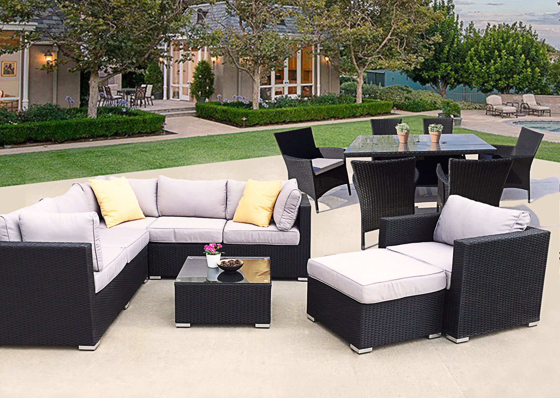 With This Set You Can Add And Arrange Pieces To Fit Your Space Quality Modern Patio Furniture And Modern Patio Furniture Modern Patio Outdoor Furniture Sets