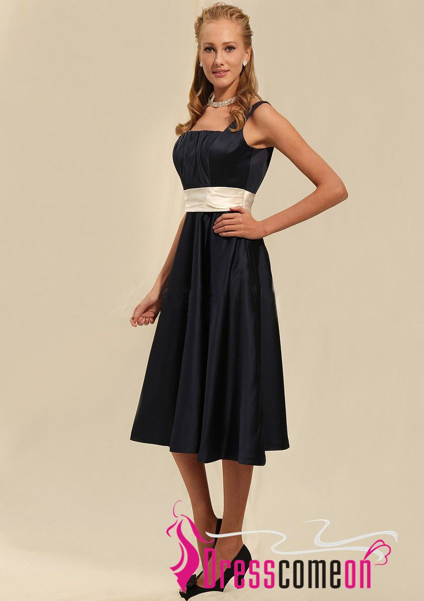 Custom made square neck kneelength black satin homecoming dress