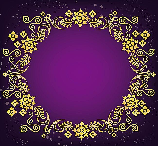 european gold pattern frame vector retro background