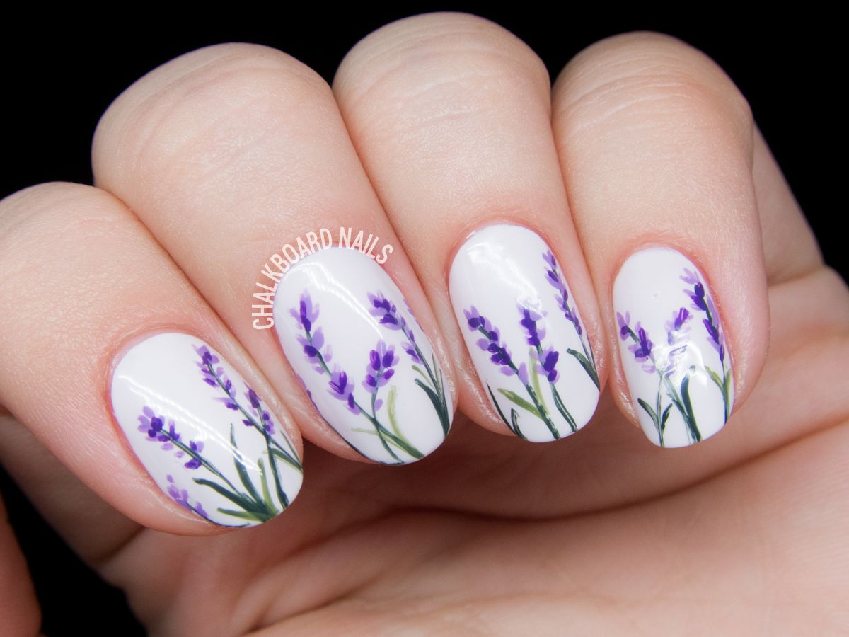 Pattern nail art designs fancy nail art for prom simple nail art lines - Lavender Blossoms Floral Nail Art