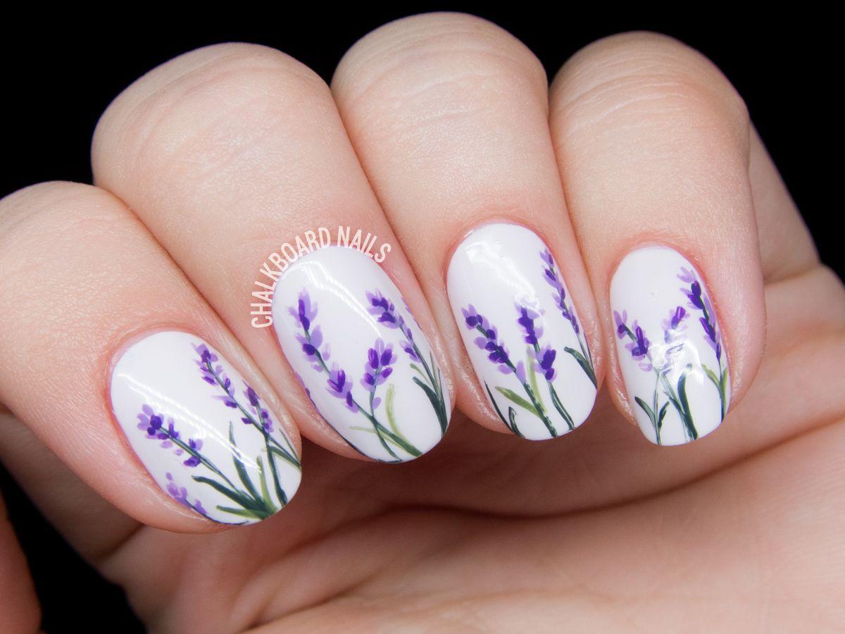 Lavender Blossoms Floral Nail Art Floral Nail Art Floral Nail Designs Spring Nail Art