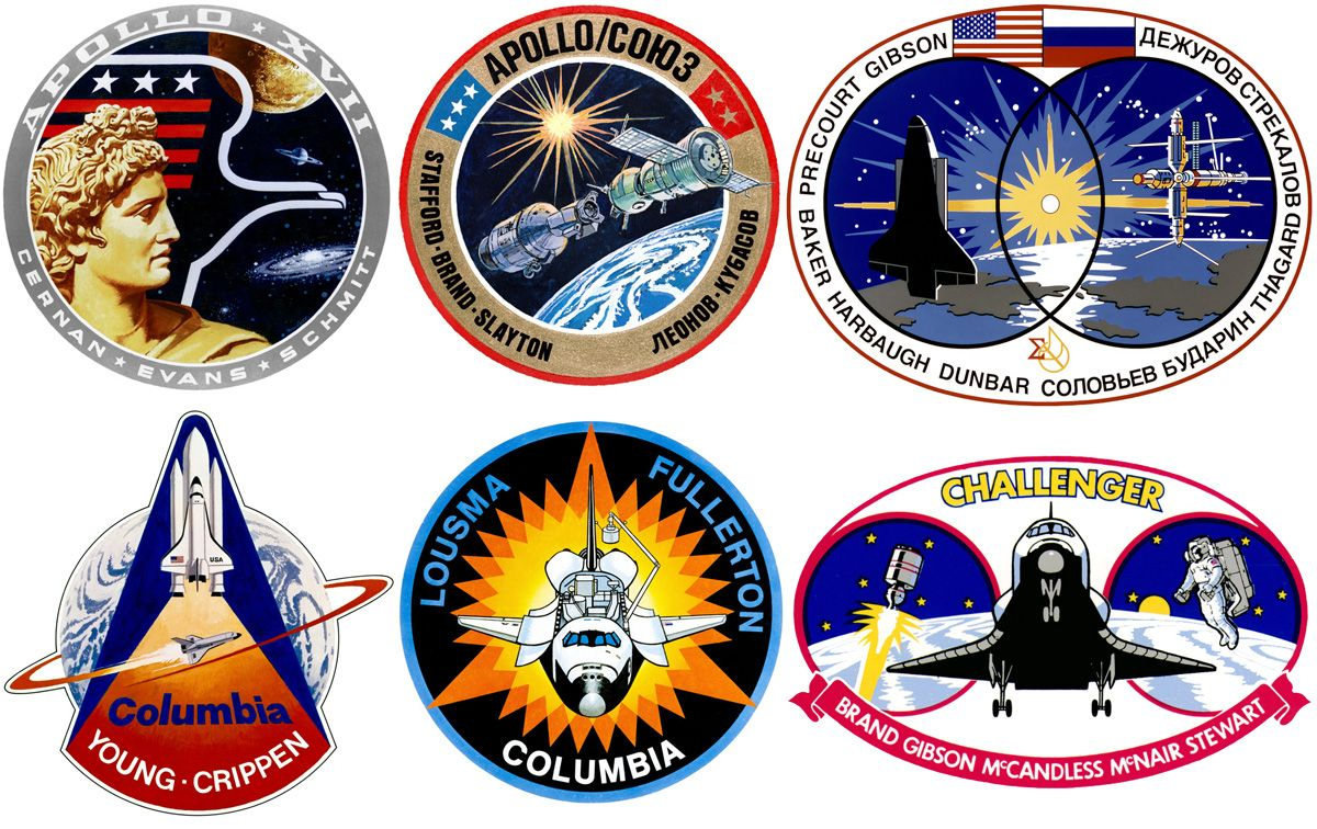 Six of the mission patches designed by McCall (first row: Apollo 17, ASTP, STS-71, second row: STS-1, STS-3, STS-41B)