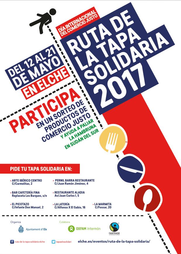 """Desde el 12 al 21 de mayo os invitamos a participar en la Ruta de la Tapa Solidaria 2017.  Una iniciativa, desde la Concejalía de Cooperación del Ajuntament d'Elx junto con Oxfam Intermón, que comienza con la celebración el Día del Comercio Justo, para paliar la hambruna en Sudán del sur de la forma más sabrosa.  Consumiendo la """"tapa solidaria"""" se aportará parte de lo recaudado a la causa y además podréis participar en el sorteo de  tres lotes de productos de comercio justo.   Únete a esta…"""