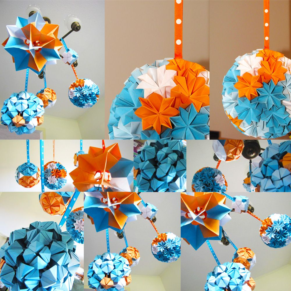 blue and orange | boogie beans: modular origami ball decorations