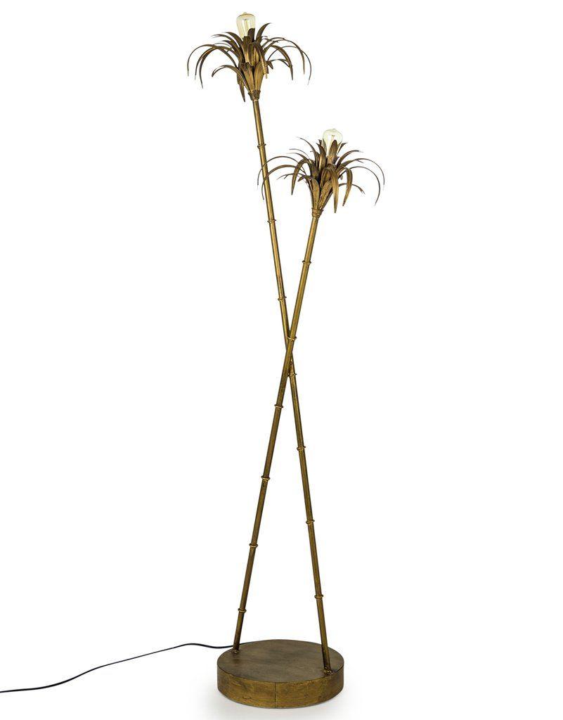 Iron Palm Tree Floor Lamp Antiqued Gold 126 Cm High Tree Floor Lamp Iron Palm Floor Lamp