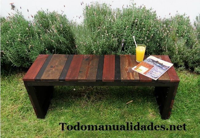 Como hacer un banco de jardin de madera Pallet wood, Pallets and Woods