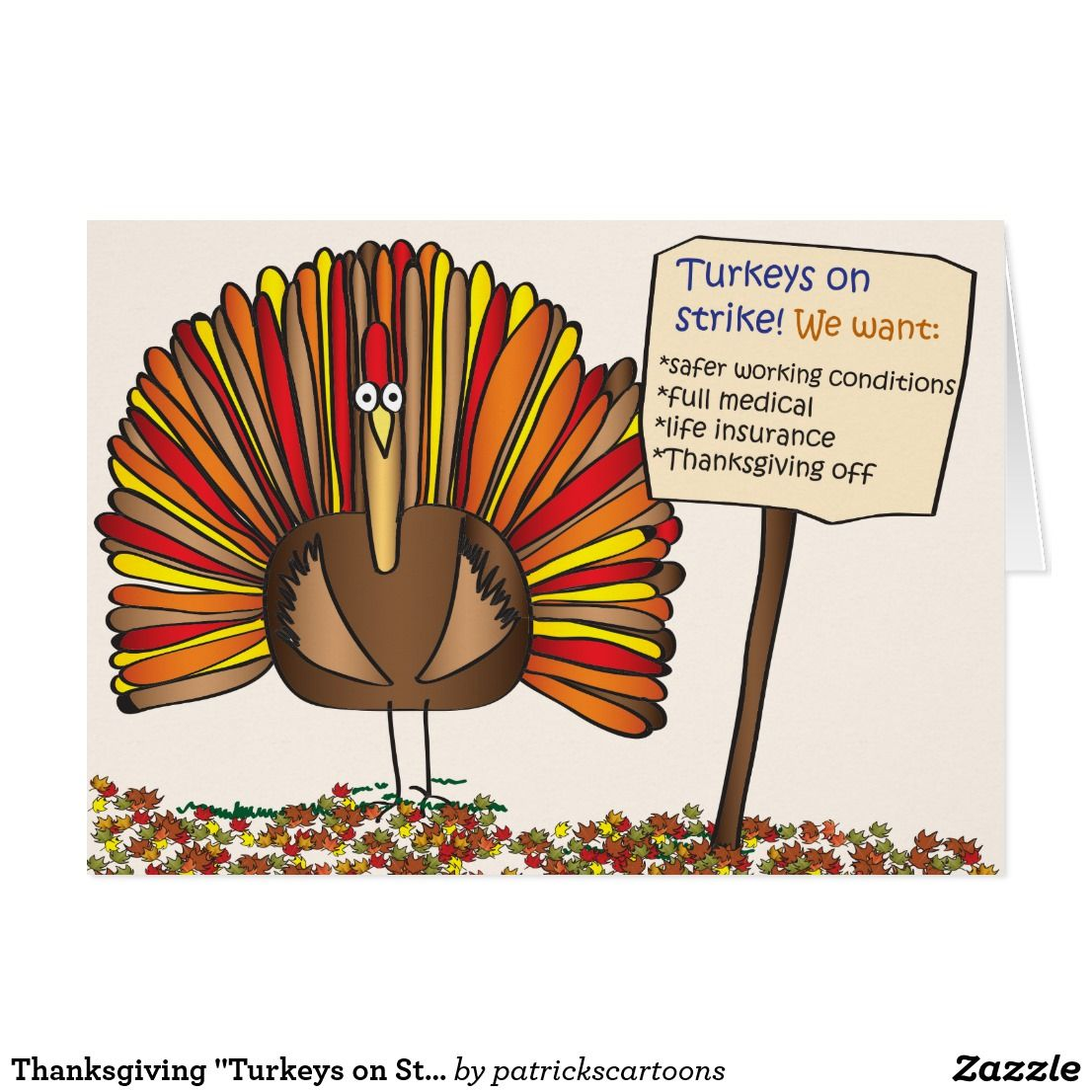 "Thanksgiving ""Turkeys on Strike"" Cartoon Cards Zazzle"