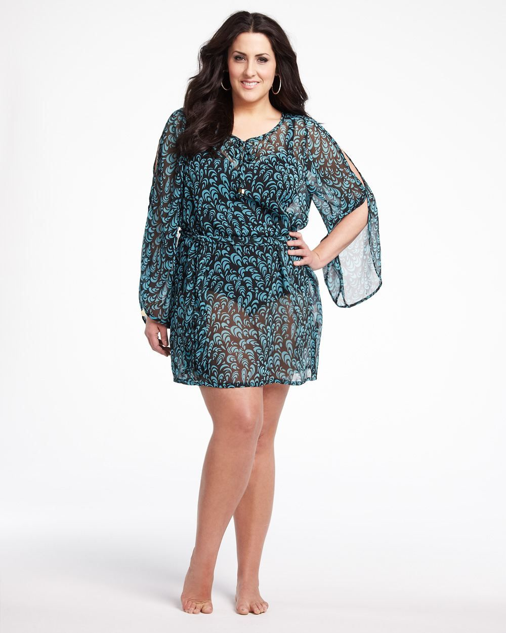 printed cover-up caftan, addition elle, plus size, fashion, trends