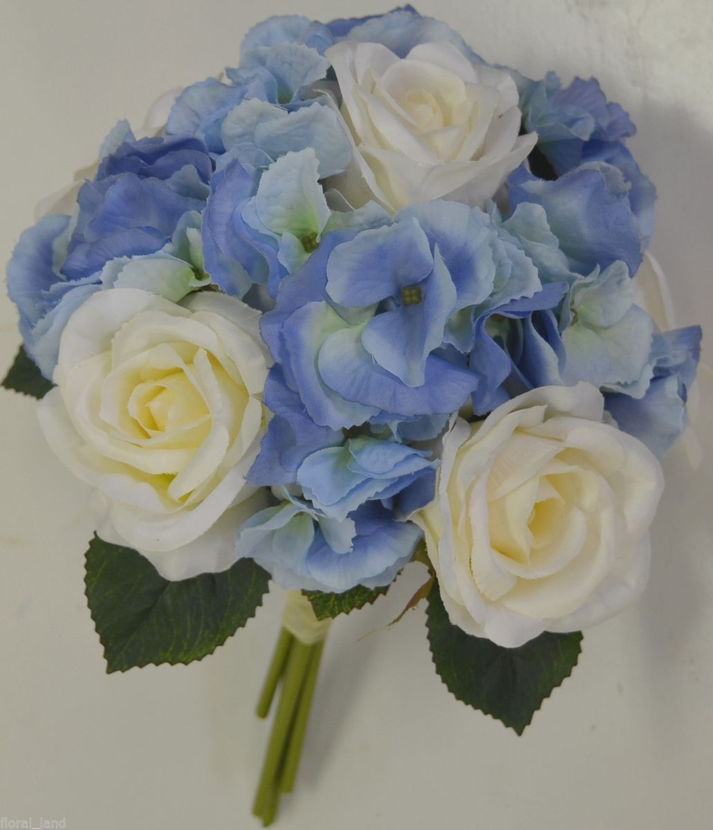 Wedding flowers blue hydrangias silk wedding bouquet for White and blue flower bouquet