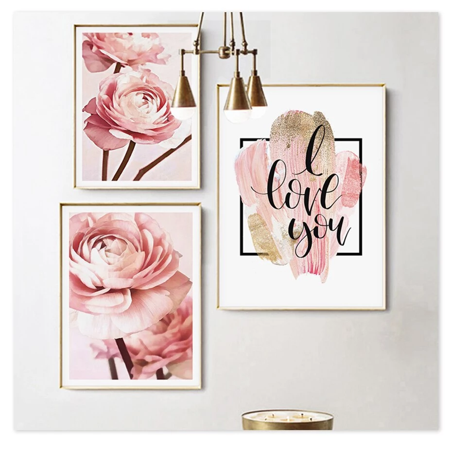 Rose Gold Peonies Wall Art Pink Floral Fine Art Canvas Prints Nordic Style Minimalist I Love You Quotation Modern Cute Pictures For Bedrooms Flower Wall Art Pink Picture Frames Floral Painting